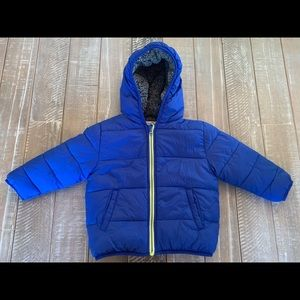 Gymboree 2T Blue Puffer Coat sherpa lined
